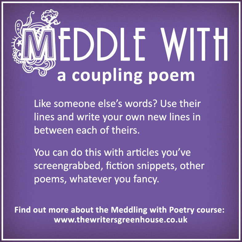 Like someone else's words? Use their lines and write your own new lines in between each of theirs. You can do this with articles you've screengrabbed, fiction snippets, other poems, whatever you fancy.