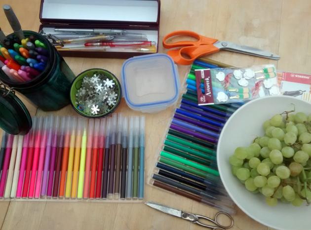 Felt-tips, grapes, sharpies, scissors, and sequins