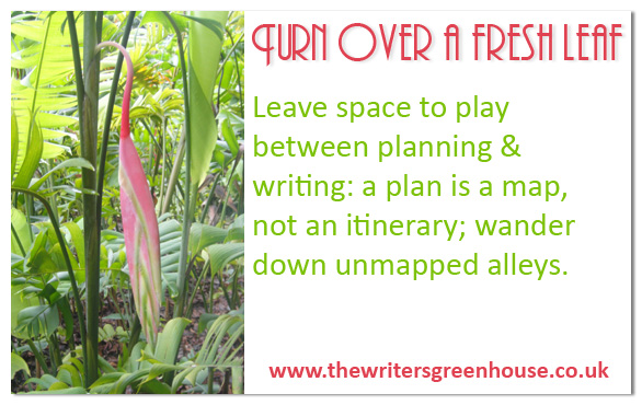 Leave space to play between planning & writing; a plan is a map, not an itinerary; wander down unmapped alleys.