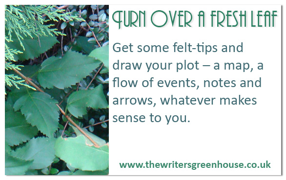 Get some felt-tips and draw your plot - a map, a flow of events, notes and arrows, whatever makes sense to you.