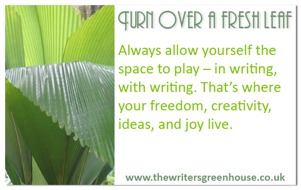 Always allow yourself the space to play - in writing, with writing. That's where your freedom, creativity, ideas and joy live.