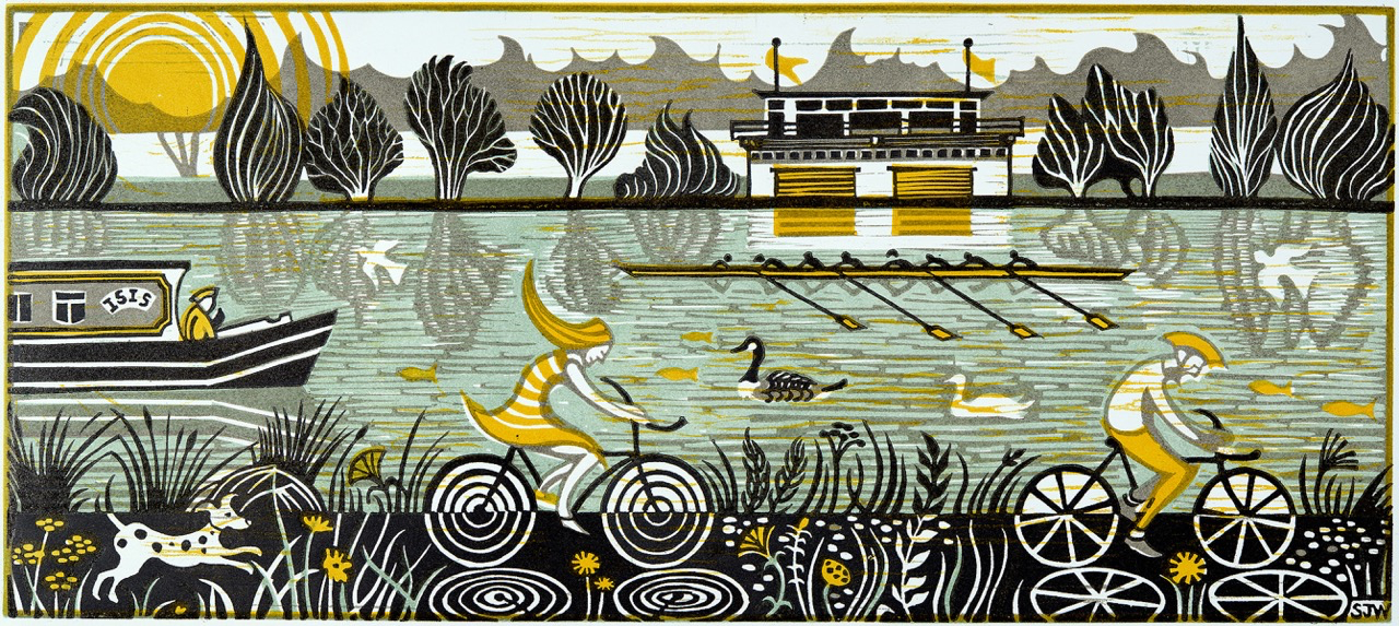 Line print of the Thames with people cycling alongside and rowing on the river